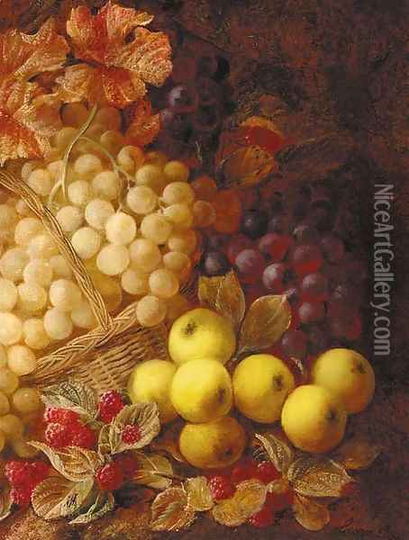 Apples, grapes, raspberries, and a wicker basket, on a mossy bank Oil Painting - George Clare