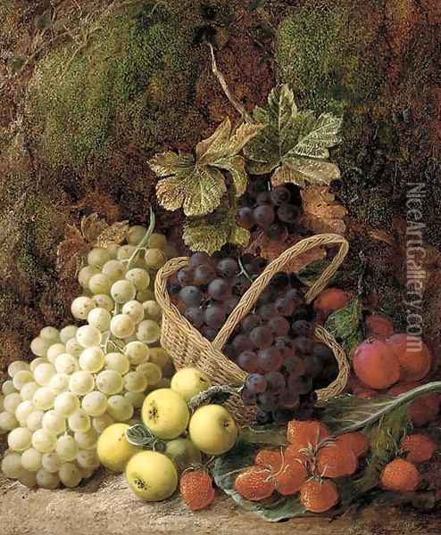 Strawberries, apples, plums, and grapes in a wicker basket, on a mossy bank Oil Painting - George Clare
