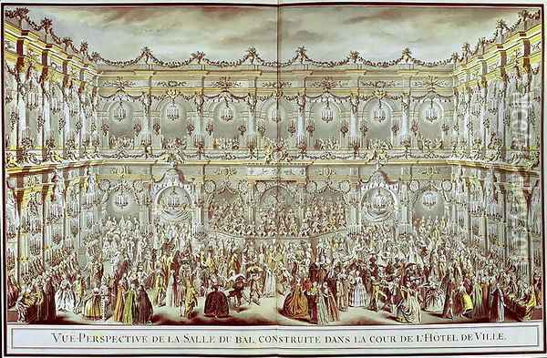Perspective view of the ballroom constructed in the courtyard of the Hotel de Ville in Paris on the occasion of the Dauphin's first marriage to Marie-Therese (1638-83) Infanta of Spain Oil Painting - Charles-Nicolas II Cochin