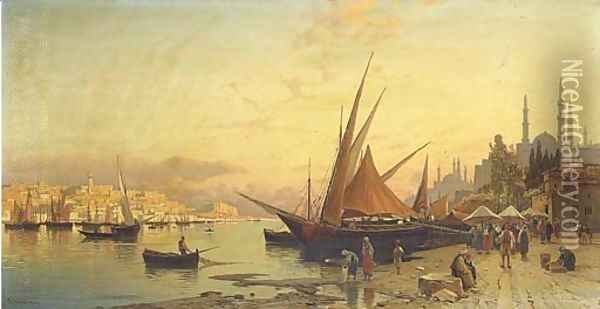 View of the Bosphorus, Constantinople Oil Painting - Hermann David Solomon Corrodi