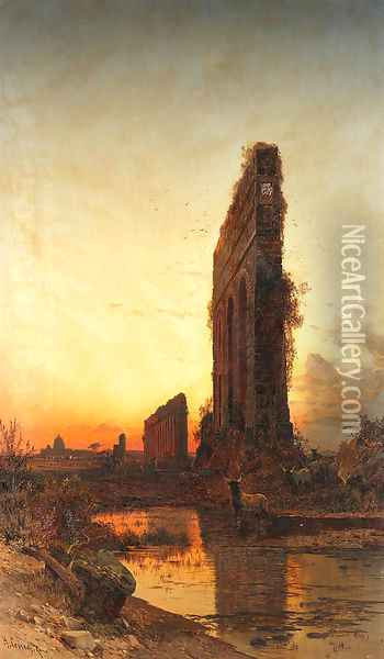 The Roman aqueducts at sunset Oil Painting - Hermann David Solomon Corrodi