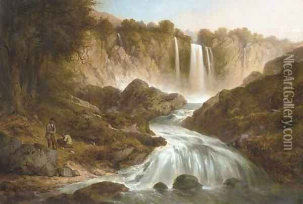 Anglers by a waterfall Oil Painting - Thomas Creswick