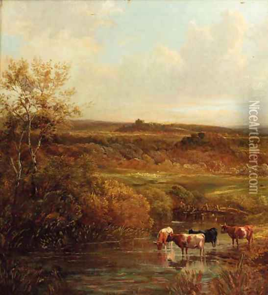 Cattle watering in an extensive landscape Oil Painting - Thomas Creswick