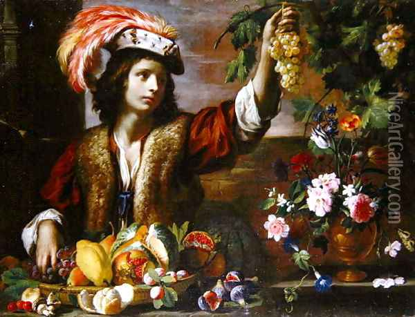 Young Man in a Feathered Hat with Still Life Oil Painting - Michelangelo Cerquozzi