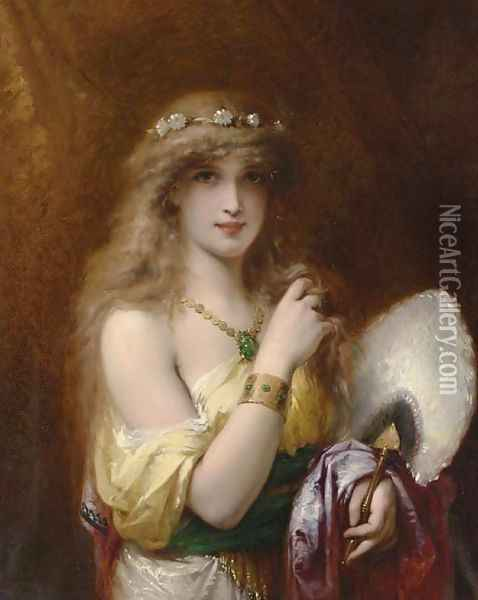 A Young Beauty holding a Fan Oil Painting - Pierre Oliver Joseph Coomans