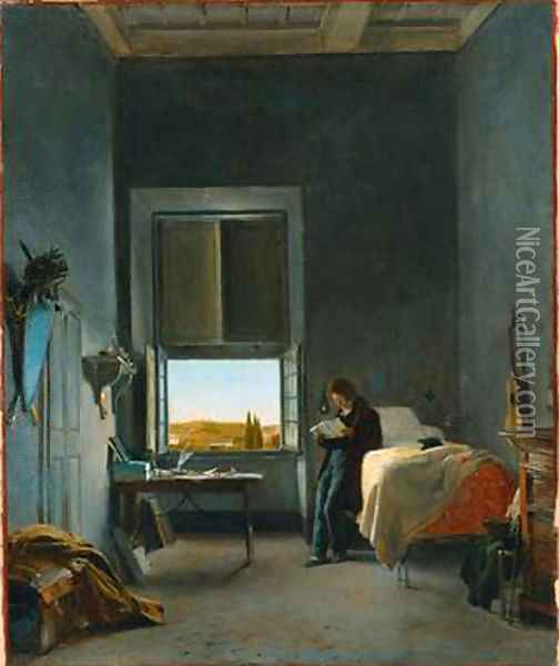 The Artist in His Room at the Villa Medici, Rome Oil Painting - Leon Cogniet