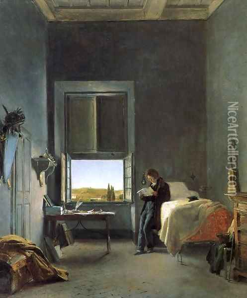 The Artist in His Room at the Villa Medici, Rome I Oil Painting - Leon Cogniet
