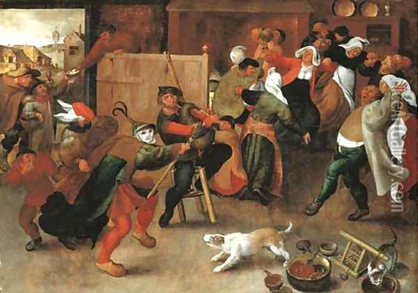 Peasants singing, dancing and drinking in an interior Oil Painting - Marten Van Cleve