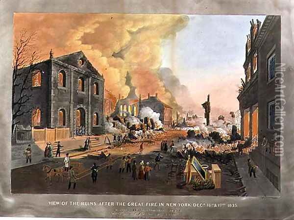 View of the Ruins after the the Great Fire in New York, December 16th-17th 1835 Oil Painting - Nicolino Calyo