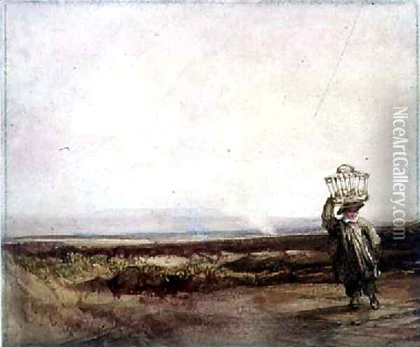 A Boy carrying a Basket on his Head, in a Moorland Landscape Oil Painting - Luke Clennell