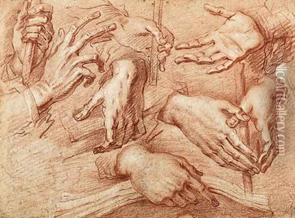 Eight studies of hands, one holding a stick, another a cross or book Oil Painting - Giovanni Battista Crespi (Cerano II)