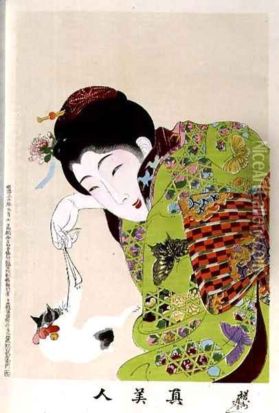 1973-22c Shin Bijin (True Beauties) depicting a woman playing with a kitten, from a series of 36, modelled on an earlier series Oil Painting - Toyohara Chikanobu
