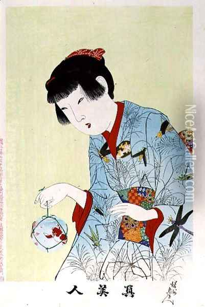 1973-22c Shin Bijin (True Beauties) depicting a woman holding a goldfish bowl, from a series of 36, modelled on an earlier series Oil Painting - Toyohara Chikanobu