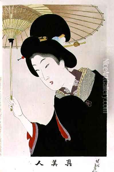 1973-22c Shin Bijin (True Beauties) depicting a woman with a parasol, from a series of 36, modelled on an earlier series Oil Painting - Toyohara Chikanobu