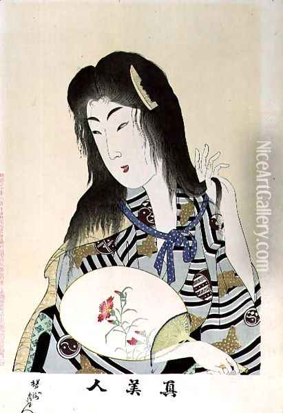 1973-22c Shin Bijin (True Beauties) depicting a woman with a fan, from a series of 36, modelled on an earlier Oil Painting - Toyohara Chikanobu