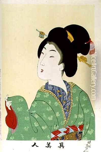1973-22c Shin Bijin (True Beauties) depicting a woman in a green floral kimono, from a series of 36, modelled on an earlier series Oil Painting - Toyohara Chikanobu