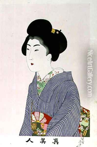 1973-22c Shin Bijin (True Beauties) depicting a seated woman, from a series of 36, modelled on an earlier series Oil Painting - Toyohara Chikanobu