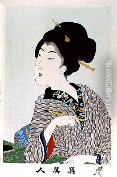 1973-22c Shin Bijin (True Beauties) depicting a woman holding a paintbrush, from a series of 36, modelled on an earlier series Oil Painting - Toyohara Chikanobu
