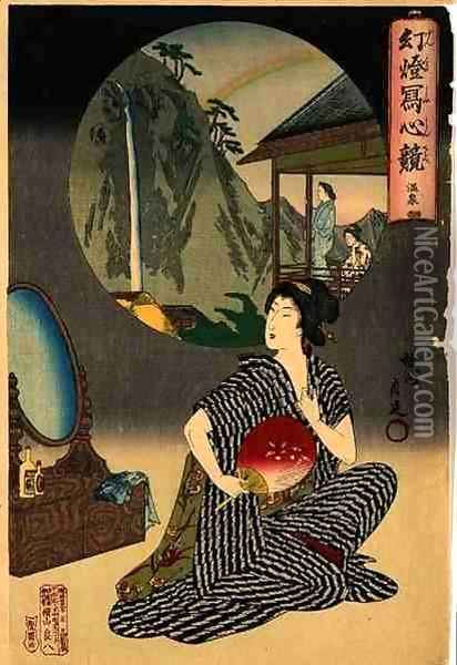 Japanese Inn at Hot Springs Oil Painting - Toyohara Chikanobu