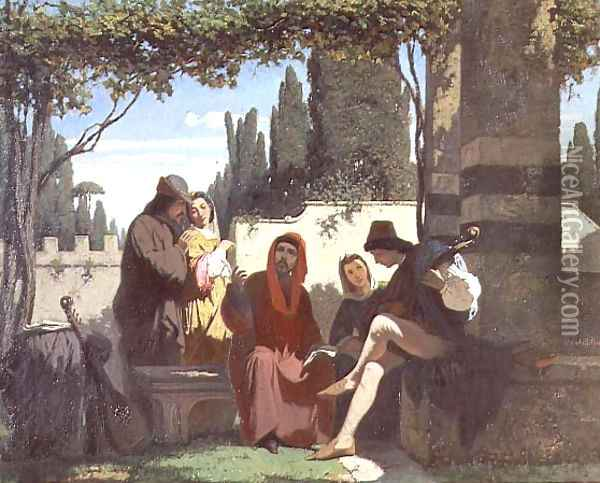 Florentine troubadours in the 14th century, 1860 Oil Painting - Vincenzo Cabianca