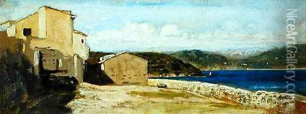 Houses at Lerici Oil Painting - Vincenzo Cabianca