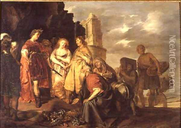 The Continence of Scipio, Roman General (237-183 BC) Oil Painting - Pieter Codde