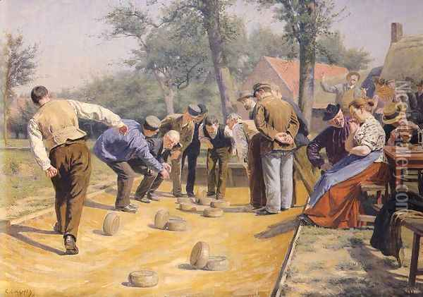 A Game of Bowls in the Village Square Oil Painting - Remy Cogghe