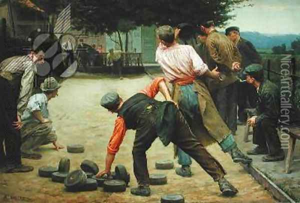 A Game of Bourles in Flanders 1911 Oil Painting - Remy Cogghe