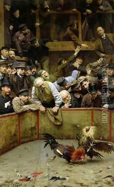 The Cockfight 1889 Oil Painting - Remy Cogghe