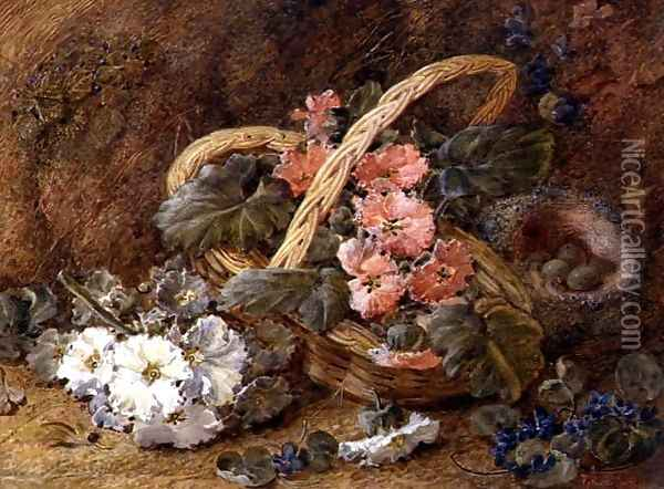 A bird's nest and a basket of flowers Oil Painting - Vincent Clare