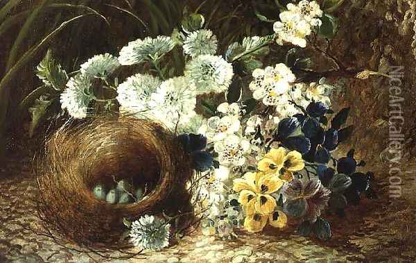 A Still Life of Flowers and a Bird's Nest on a Mossy Bank Oil Painting - Vincent Clare