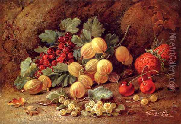 Strawberries, Cherries, Gooseberries And Red And White Currants Oil Painting - Vincent Clare