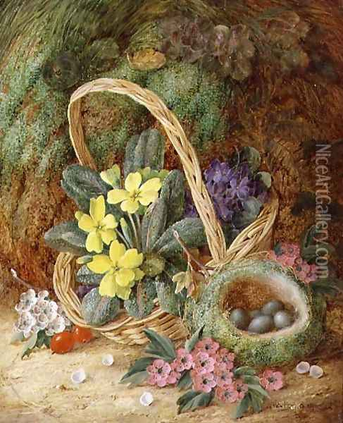Still Life with Primroses and a Bird's Nest Oil Painting - Vincent Clare