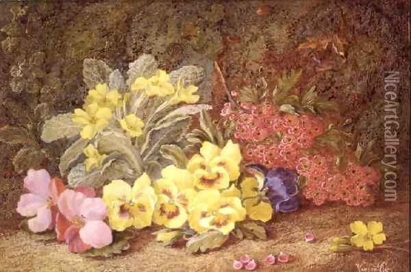 Roses and Primroses Oil Painting - Vincent Clare