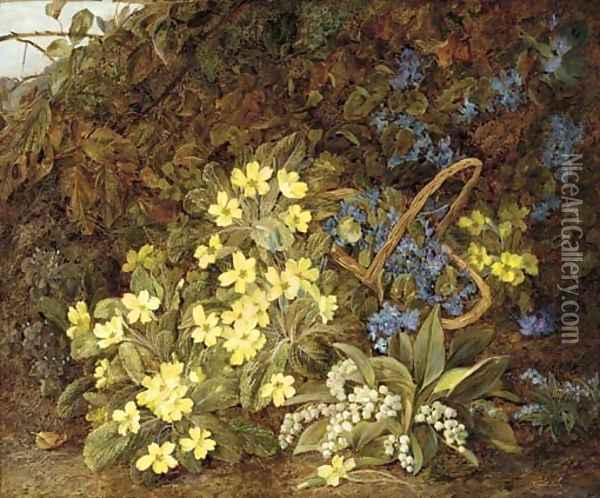 Lilies of the valley, primulas, forget-me-nots and violets on a mossy bank Oil Painting - Vincent Clare