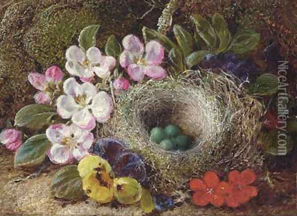 Apple blossom, pansies and a bird's nest with eggs on a mossy bank Oil Painting - Vincent Clare