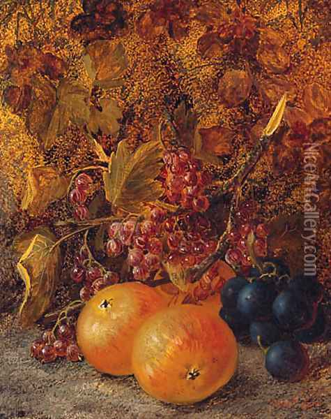Apples, Redcurrants And Grapes On A Mossy Bank Oil Painting - Vincent Clare