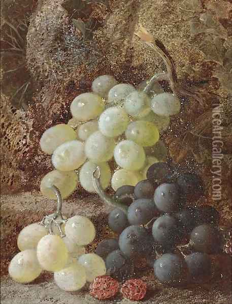 Grapes and raspberries Oil Painting - Vincent Clare
