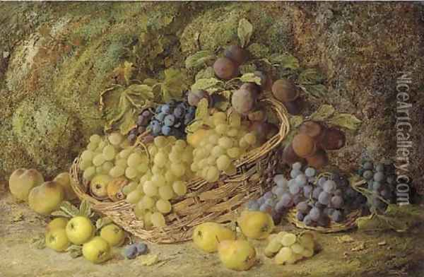 Grapes, apples, plums and blueberries in a wicker basket Oil Painting - Vincent Clare