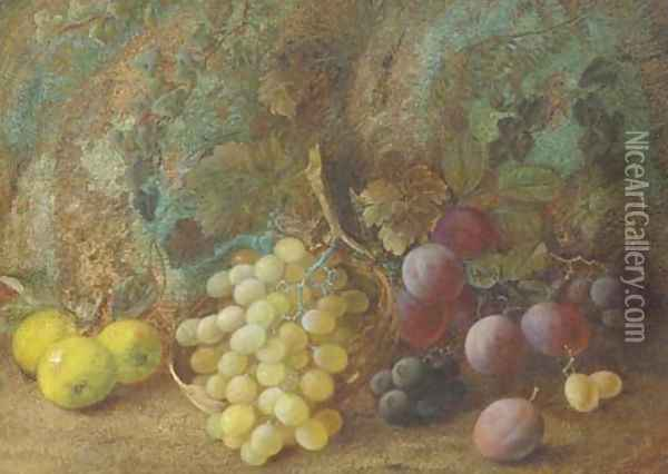 Still life of apples, plums and grapes in a basket on a mossy bank Oil Painting - Vincent Clare