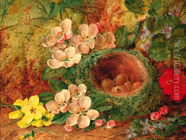 A bird's nest with apple blossom and primulas on a mossy bank Oil Painting - Vincent Clare