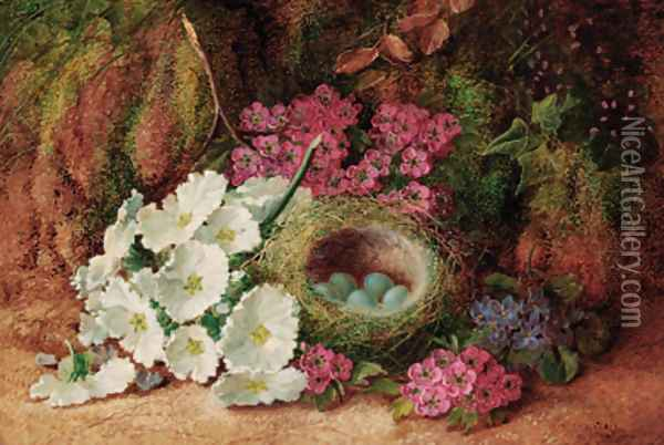 Blossom and a bird's nest with eggs, on a mossy bank Oil Painting - Vincent Clare