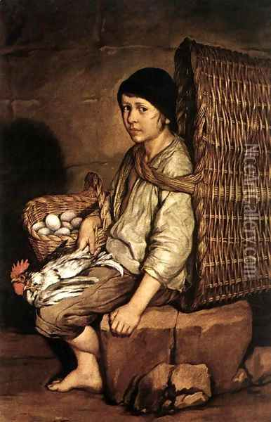 Boy with a Basket c. 1745 Oil Painting - Giacomo Ceruti (Il Pitocchetto)