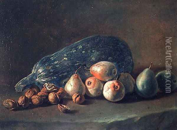 Still Life of Fruit and Nuts Oil Painting - Giacomo Ceruti (Il Pitocchetto)