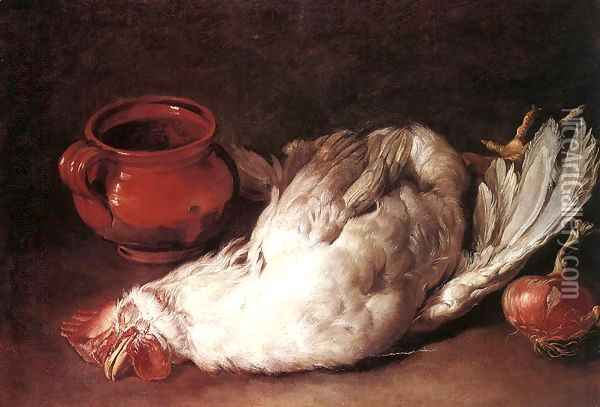Still-Life with Hen, Onion and Pot 1750s Oil Painting - Giacomo Ceruti (Il Pitocchetto)