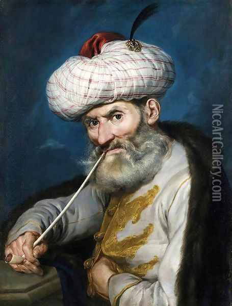 Portrait of a Smoking Man in Oriental Habit c. 1740 Oil Painting - Giacomo Ceruti (Il Pitocchetto)