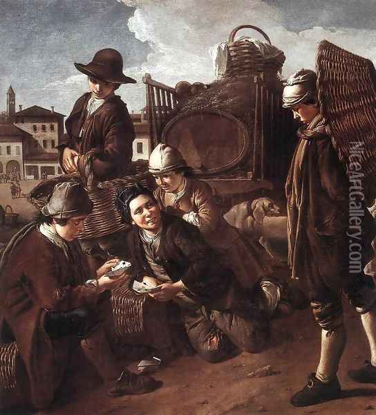 Evening at the Piazza 1730 Oil Painting - Giacomo Ceruti (Il Pitocchetto)