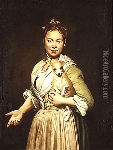 A Woman with a Dog Oil Painting - Giacomo Ceruti (Il Pitocchetto)
