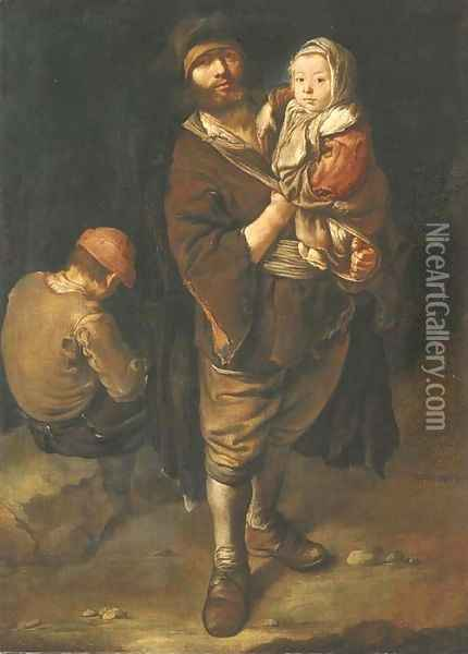 A peasant holding his daughter in his arms, a seated street urchin beyond Oil Painting - Giacomo Ceruti (Il Pitocchetto)