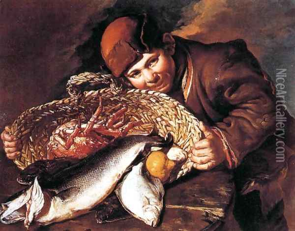 Boy with a Basket of Fish Oil Painting - Giacomo Ceruti (Il Pitocchetto)